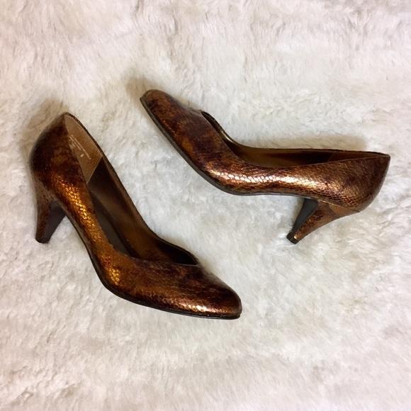 Bronze Metallic Almond Toe Pumps Low